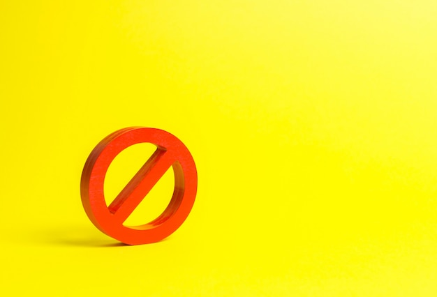 Pas de signe ou pas de symbole sur fond jaune