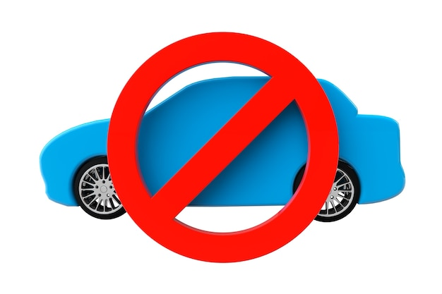 Pas de voitures autorisées concept. voiture avec symbole non autorisé sur fond blanc