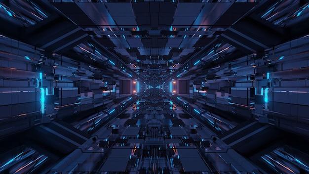 Passage de tunnel spatial de science-fiction futuriste avec des lumières brillantes et brillantes