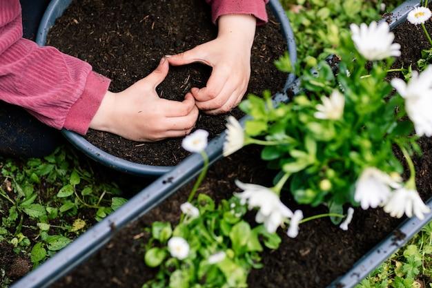 Passe-temps préféré, prendre soin des plantes, gros plan des mains d'une petite fille montrant une forme de cœur sur un pot de terre avant de planter des fleurs.