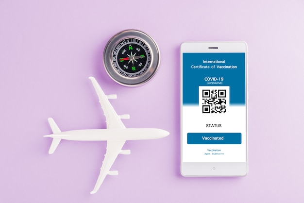 Le passeport d'avion modèle et le laissez-passer d'immunité sont une application organisée sur smartphone
