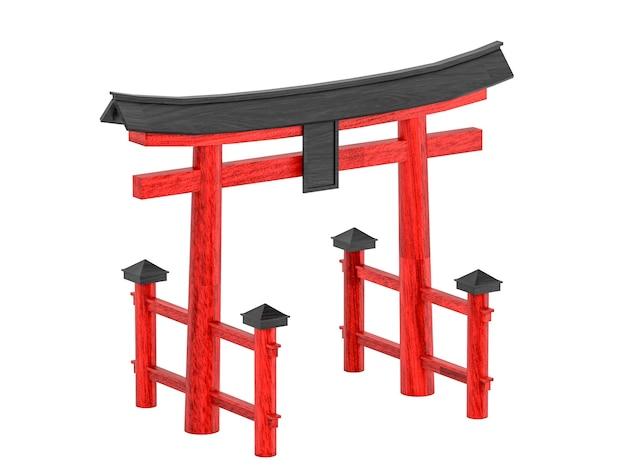 Passerelle japonaise torii isolé sur fond blanc