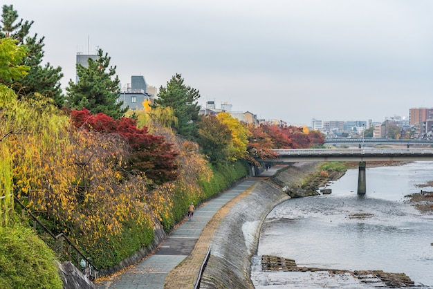 Passerelle publique au bord de la rivière pour se détendre à l'automne dans la région de gion, ville de kyoto, japon.