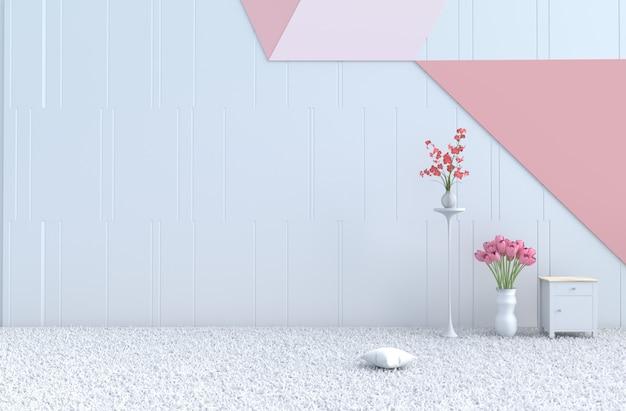 Pastel room of love sur le rendu 3d de la saint-valentin. décor avec mur pastel, tulipe et orchidée