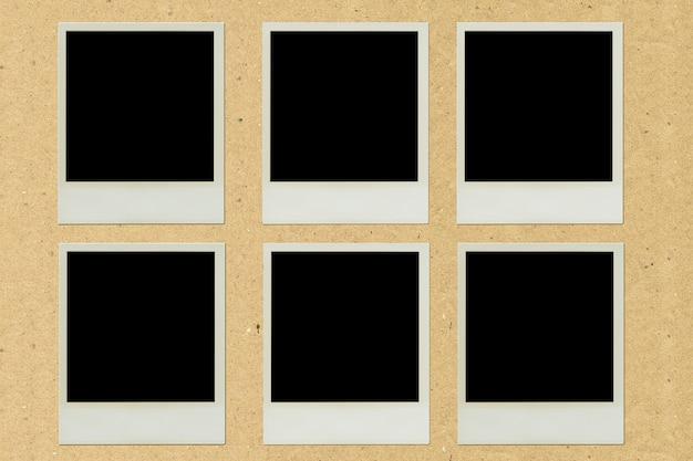 Pâte de cadre photo polaroid sur papier brun