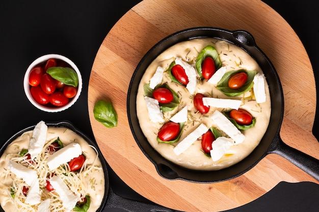 Pâte levante food concept pour focaccia bio maison