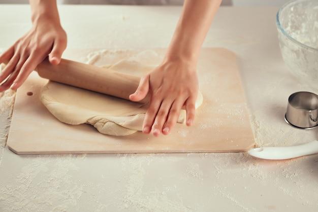 Pâte à Rouler Farine Produits Cuisine Travail Cuisine Photo Premium
