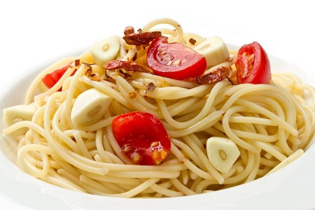 Pâtes ail huile d'olive et piment rouge