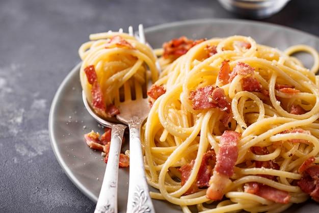 Pâtes carbonara au bacon et au parmesan
