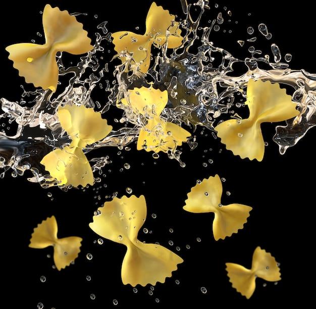 Pâtes papillon italiennes tombant dans l'eau bouillante