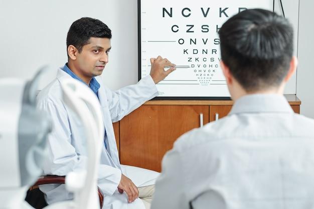Patient au bureau de l'optométriste