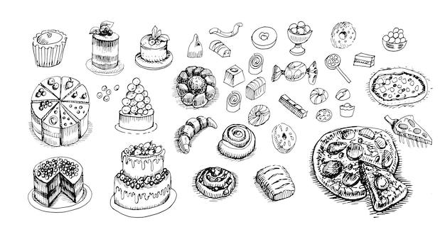 Pâtisseries pâtisseries gâteaux cupcakes graphiques gravure croquis dessinés à la main photo aliments sucrés hommes