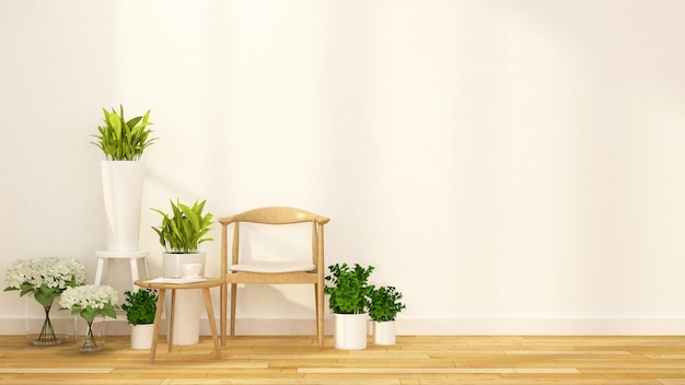 Pause café avec un jardin d'intérieur rendu 3d