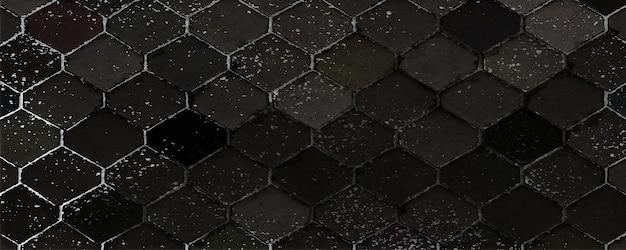 Pavé hexagonal. texture de roche noire. résumé des couches de pierre. fond naturel. rendu 3d.