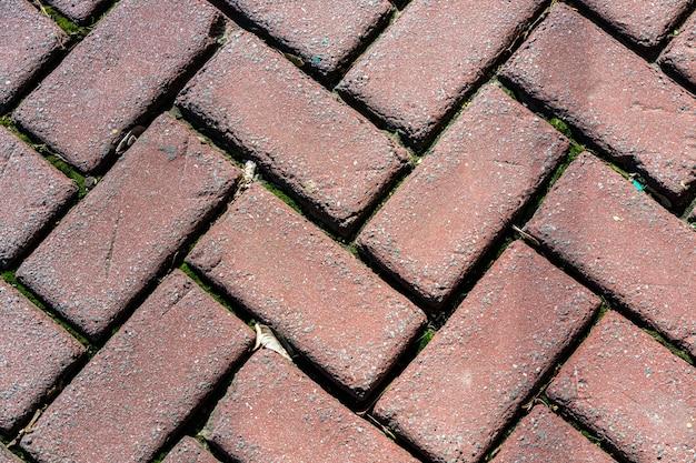 Pavés de briques d'extérieur posés en motif à chevrons