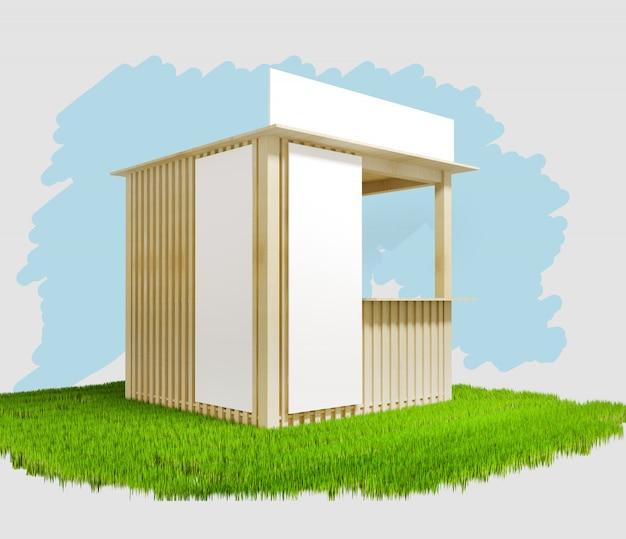 Pavillon en bois avec espace publicitaire, illustration 3d