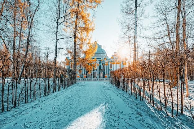 Pavillon de l'ermitage à tsarskoïe selo (pushkin) banlieue de saint-pétersbourg. russie.