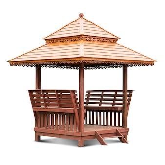Pavillon de gazebo reste en bois isolé sur blanc avec un tracé de détourage