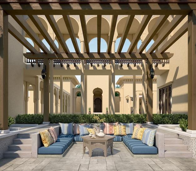 Pavillon lounge sur terrasse avec coussins inspirés du design arabe