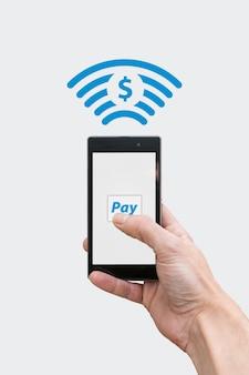 Payer avec un téléphone - symbole monétaire dollar