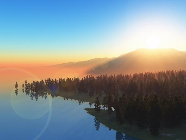 Paysage 3d d'arbres contre un ciel coucher de soleil