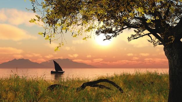 Paysage 3d avec un bateau sur une rivière contre un ciel coucher de soleil