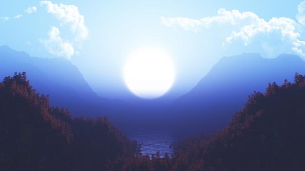 Paysage 3d avec forêt de pins et de montagnes