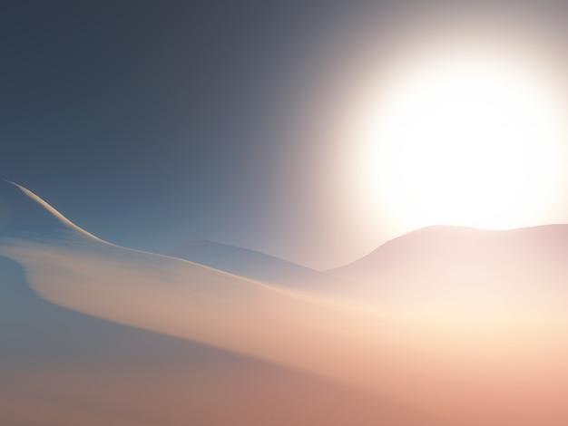 Paysage 3d d'une scène de désert brumeux au coucher du soleil