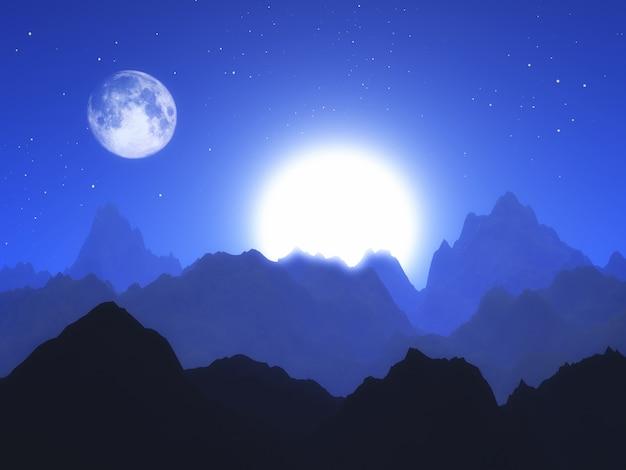 Paysage abstrait 3d avec la lune et le soleil