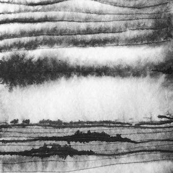 Paysage abstrait encre illustration dessinée à la main. paysage d'hiver à l'encre noir et blanc avec rivière. dessiné à la main minimaliste