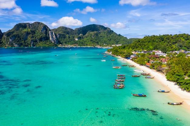 Paysage aérien vue de dessus île phi phi kra bi thaïlande salut saison