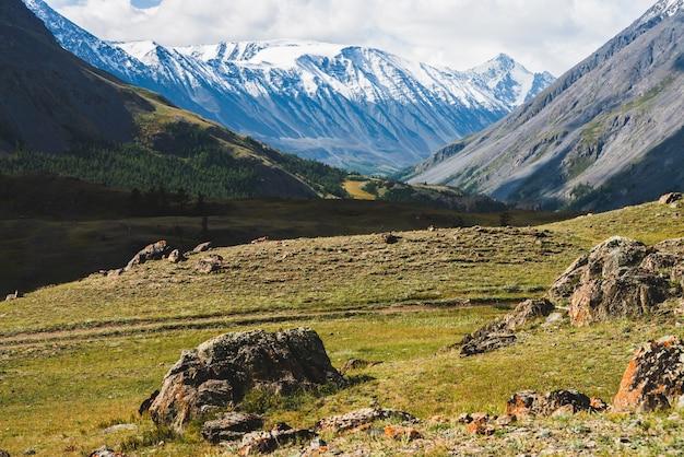 Paysage alpin atmosphérique à la crête de montagne enneigée et aux collines forestières en journée ensoleillée