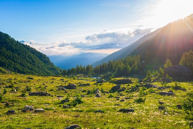Paysage alpin, ruisseau de montagne dans un environnement idyllique au milieu des prairies rocheuses et de la forêt. sunburst au lever du soleil, les alpes italiennes.