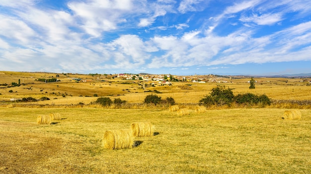 Paysage après récolte avec village d'agriculteurs en arrière-plan.