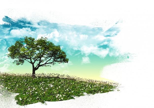 Paysage d'arbre 3d avec coups de pinceau