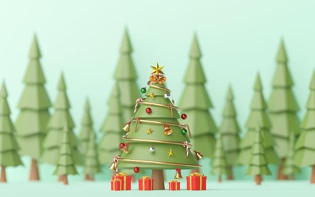 Paysage d'arbre de noël décoré avec des cadeaux dans la forêt de pins, rendu 3d