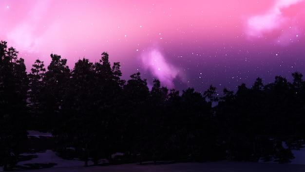 Paysage d'arbres 3d contre un ciel étoilé