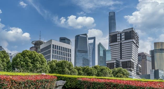 Paysage architectural du quartier financier de lujiazui, shanghai