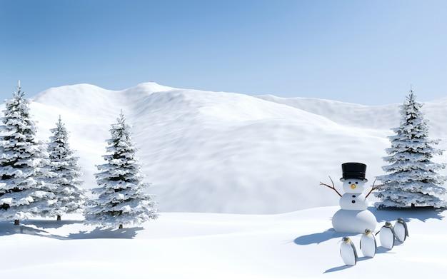Paysage arctique, champ de neige avec bonhomme de neige et oiseaux pingouins en vacances de noël, pôle nord, rendu 3d