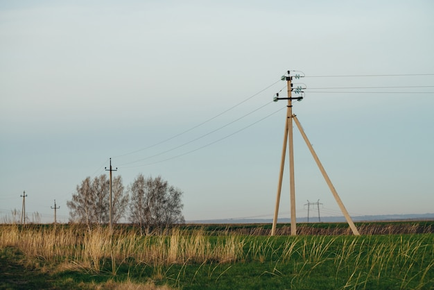 Paysage atmosphérique avec lignes électriques dans un champ vert avec un chemin de terre