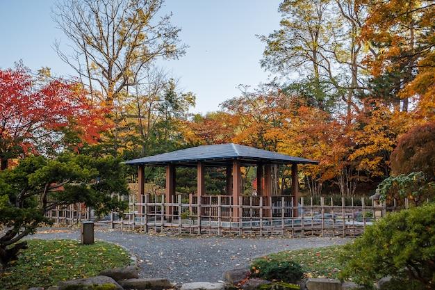 Paysage d'automne au parc nakajima, ville de sapporo, japon.
