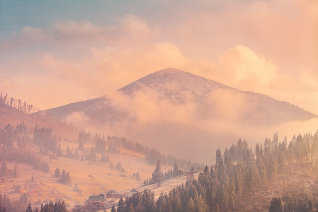 Paysage d'automne brumeux