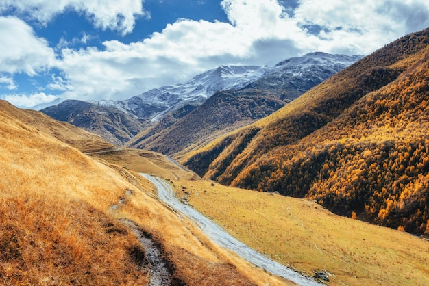Paysage d'automne doré entre les montagnes rocheuses en géorgie. route de pierre l'europe 