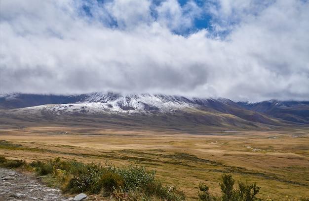 Paysage d'automne froid en sibérie, le début de l'hiver.