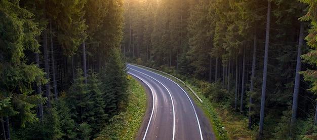 Paysage d'automne, route goudronnée dans la forêt de montagne. les arbres jaunes et rouges et les conifères verts créent un contraste pittoresque.