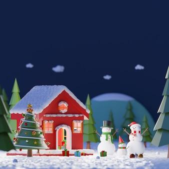 Paysage de bonhomme de neige jouant de la neige à l'extérieur de la maison rouge dans une forêt de pins à minuit, espace copie, rendu 3d