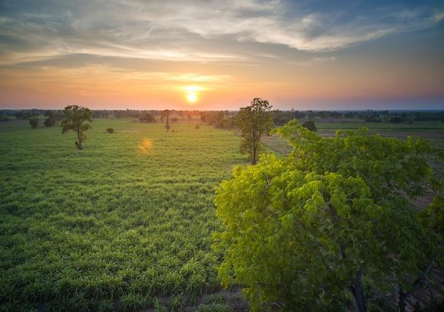 Paysage de campagne abstrait vue aérienne dramatique au coucher du soleil.