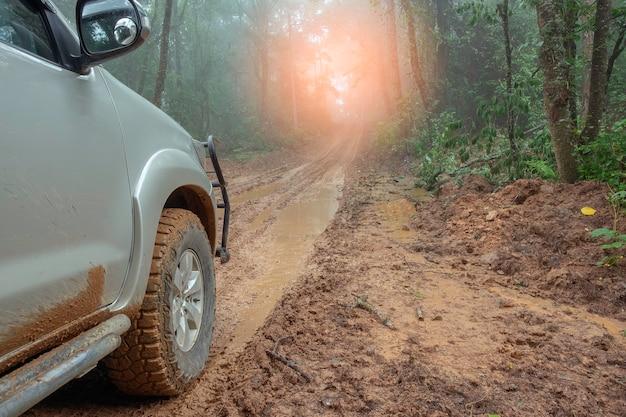 Paysage de campagne avec voiture sur route boueuse