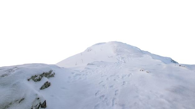 Paysage de colline enneigée avec empreinte sur fond blanc