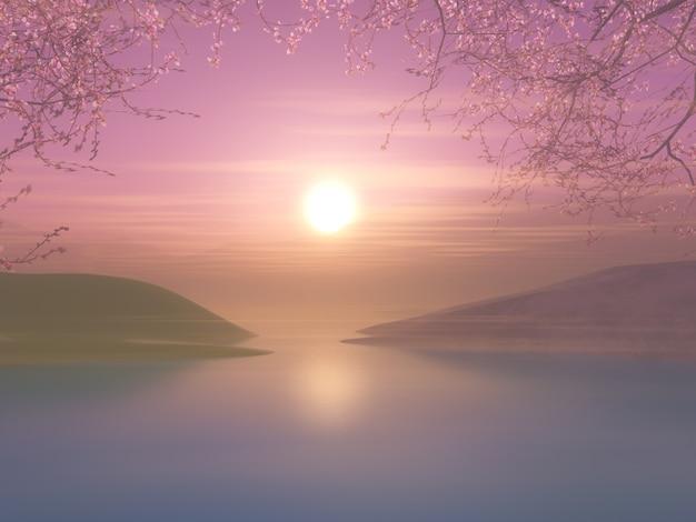 Paysage coucher de soleil 3d avec cerisier contre un ciel coucher de soleil